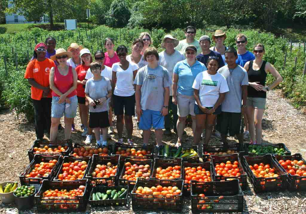 Lewis Ginter Community Kitchen Garden harvest crew & their haul.