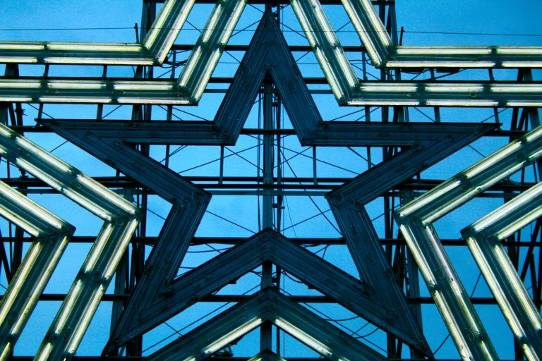 Roanoke's giant illuminated star at the top of Mill Mountain.
