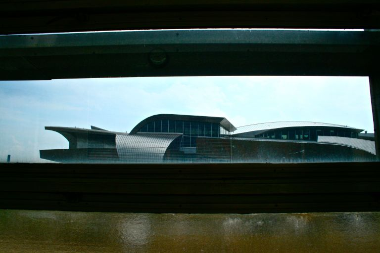 A view of the Taubman Museum of Art - designed by architect Randall Stout - from inside the former Norfolk & Western Railway station.