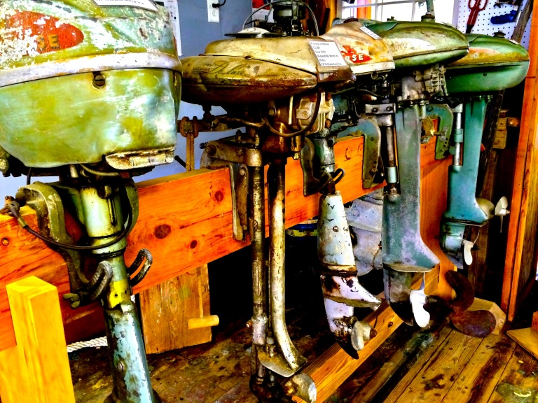 Antique outboards in-house at the Roanoke Island Maritime Museum.