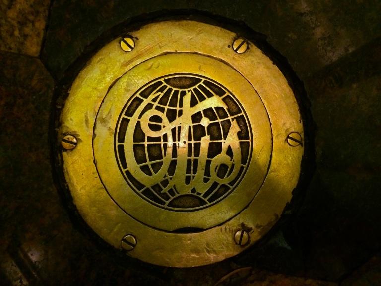 The beautiful Otis Elevator medallion on the floor of an elevator in the Hotel Roanoke.