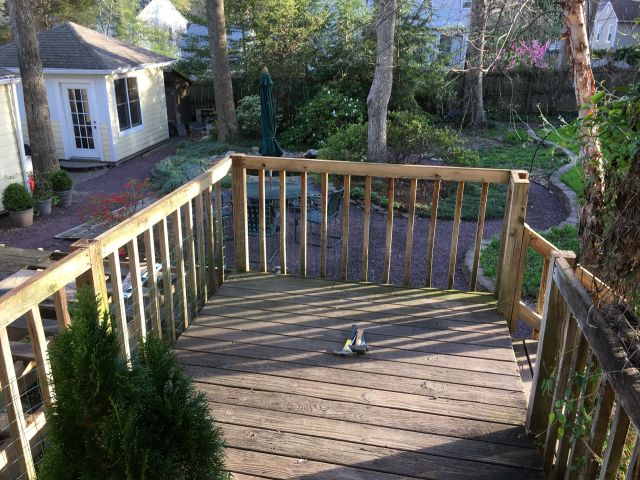 Final - only temporary - result is a 7' x 12' portion to allow safe egress from the back door until a few days before the deck contractor arrives.
